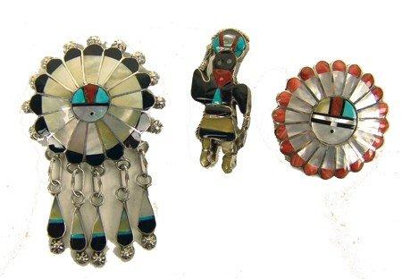 3 Zuni Inlay Pins/Pendants
