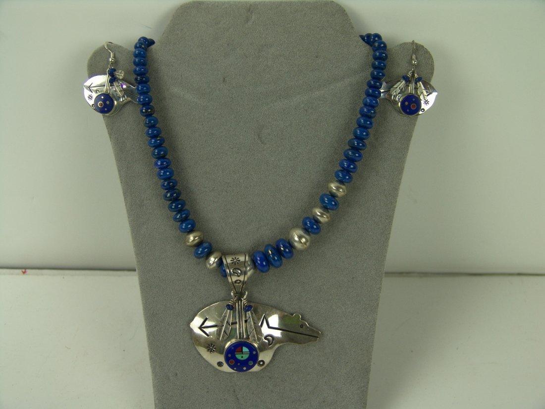 8: Navajo Necklace & Earrings - E. Benally