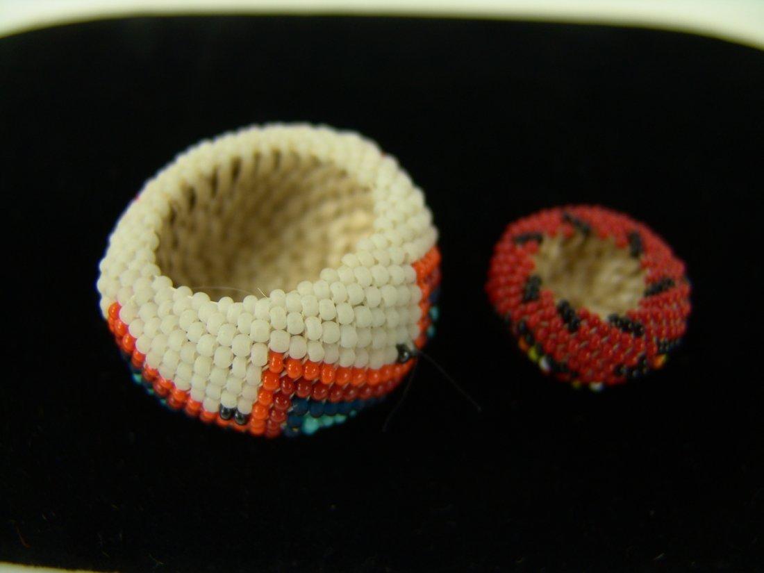 88: 2 Miniature Beaded Baskets