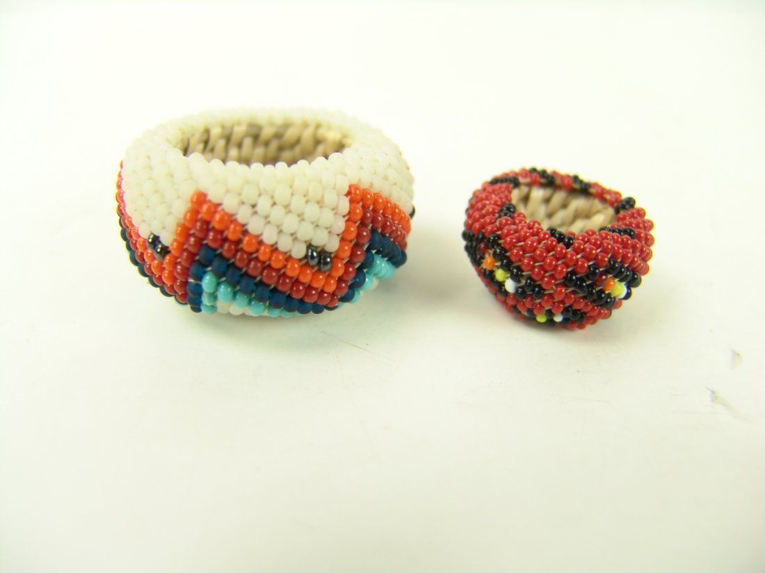 88: 2 Miniature Beaded Baskets - 3