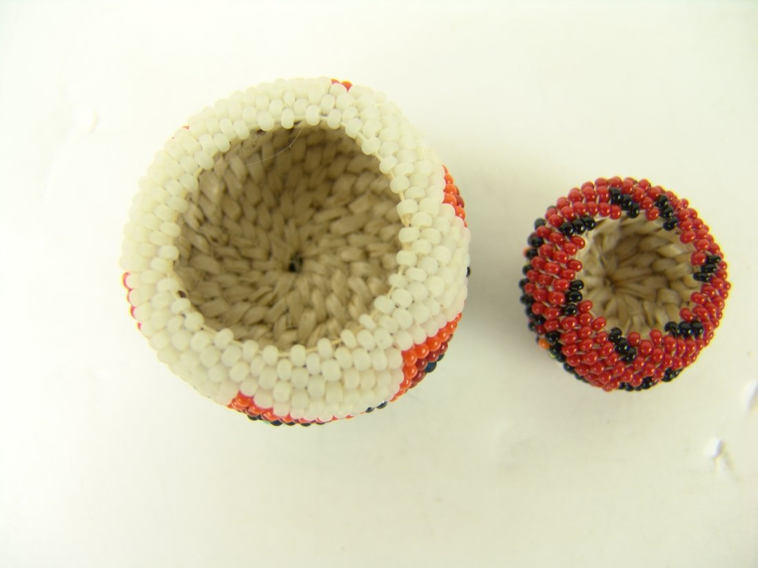 88: 2 Miniature Beaded Baskets - 4