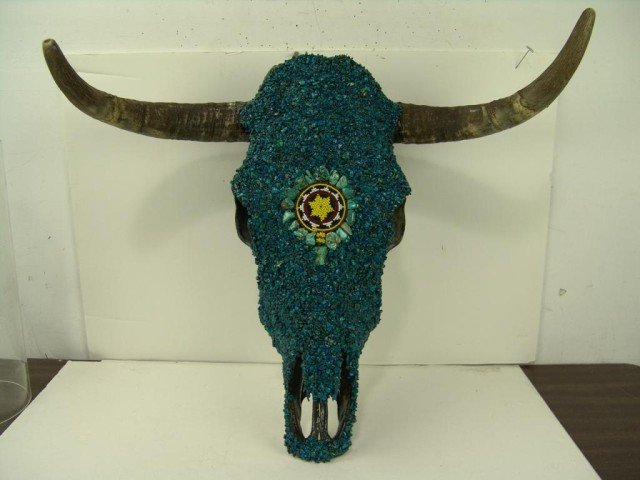 457: Turquoise Covered Skull