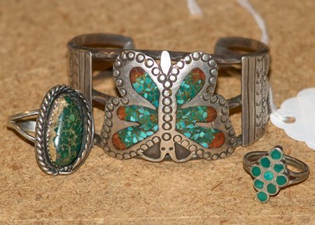 Silver, Turquoise, & Coral Cuff & 2 Rings
