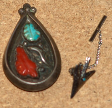 Silver, Turquoise & Coral Pendant & Tie-Tack