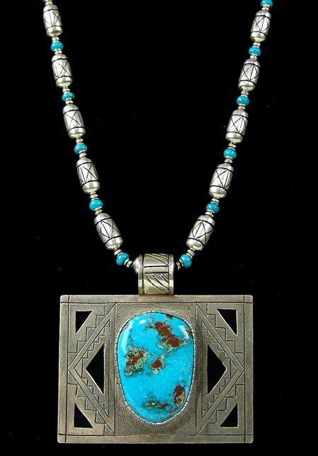 Turquoise & Silver Necklace - Michael Perez