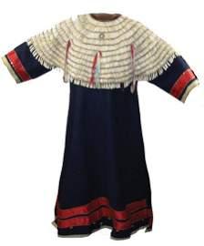Historic Sioux Dentalium & Tradecloth Dress