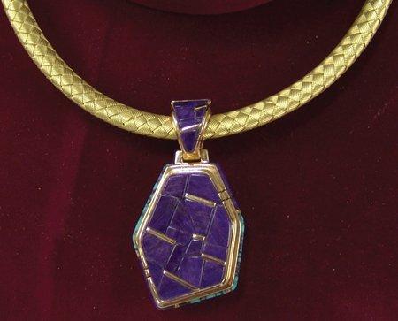 "Gold Inlay Necklace - ""DZ"""