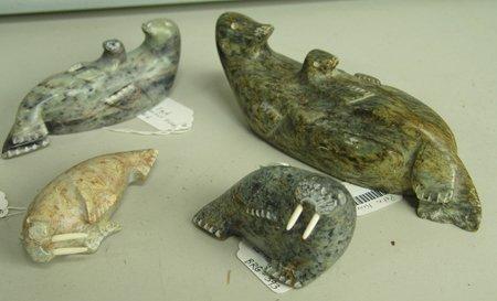 4 Northwest Coast Eskimo Soapstone Sculptures