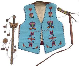 Historic Beaded Vest, Quirt and Scepter