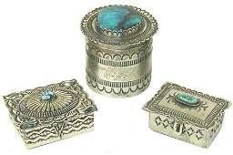 3 Navajo Silver Boxes