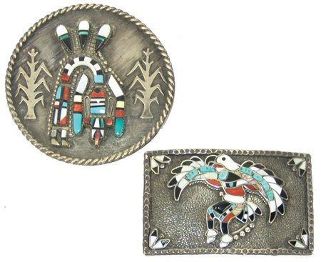 2 Zuni Inlay Buckles