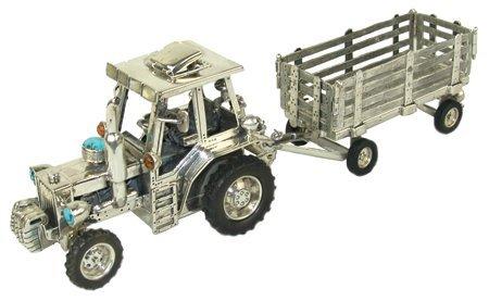 Original Silver Tractor Sculpture - Clarence Lee
