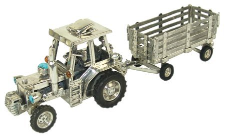 Original Silver Tractor Sculpture - Clarence Lee