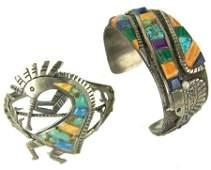 2 Zuni Inlay Bracelets - Pete Sierra