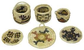 6 Miniature Hopi Baskets