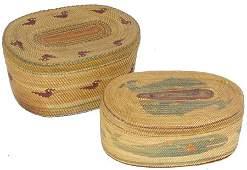 2 Old Makah Lidded Baskets
