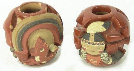 2 Santa Clara Pottery Jars - Mary ?