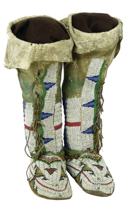 Ute Beaded High Top Moccasins