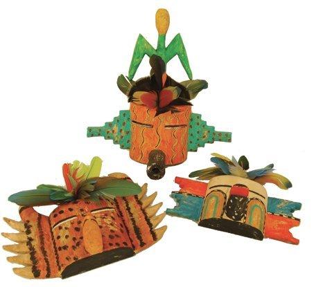 3 Hopi Kachina Carvings - Greg Lomayesva