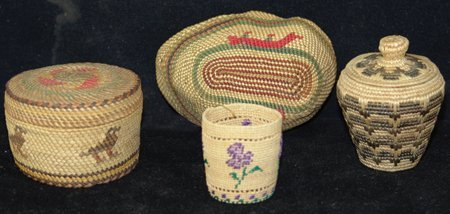 4 Miniature NW Coast/Alaska Baskets