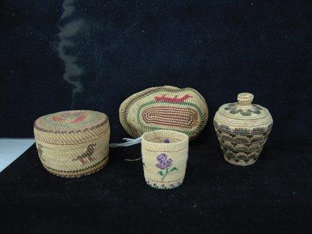 4 Miniature NW Coast/Alaska Baskets - 4