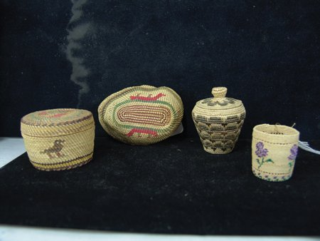 4 Miniature NW Coast/Alaska Baskets - 5