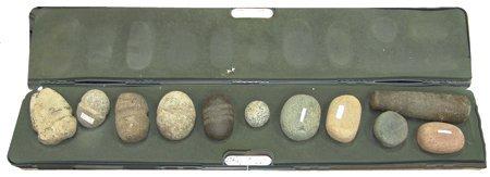 Gun Case w/11 Stone Artifacts