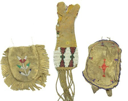 3 Beaded Buckskin Items