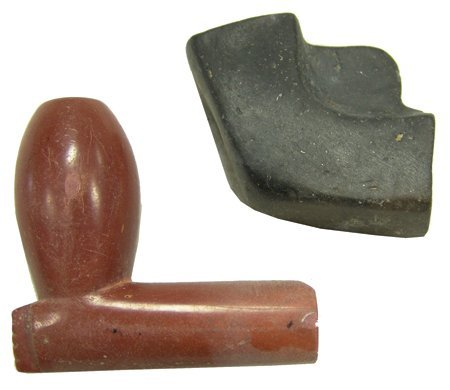 2 Carved Stone Pipes