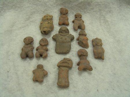 11 Mayan Pottery Figures - 2