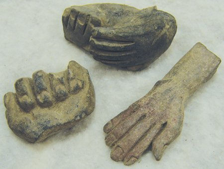 3 Mayan Pottery Figures