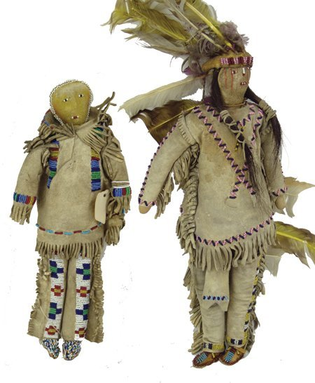 2 Plains Buckskin Dolls