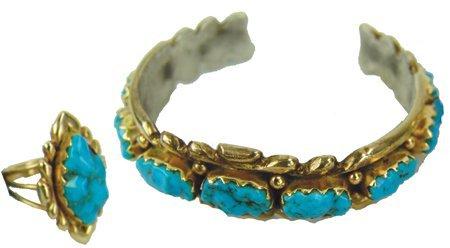 Zuni Gold Bracelet & Ring