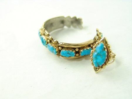 Zuni Gold Bracelet & Ring - 3