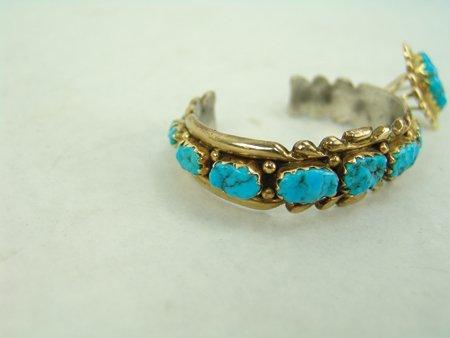 Zuni Gold Bracelet & Ring - 4
