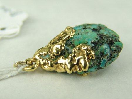 Gold & Turquoise Pendant - 4
