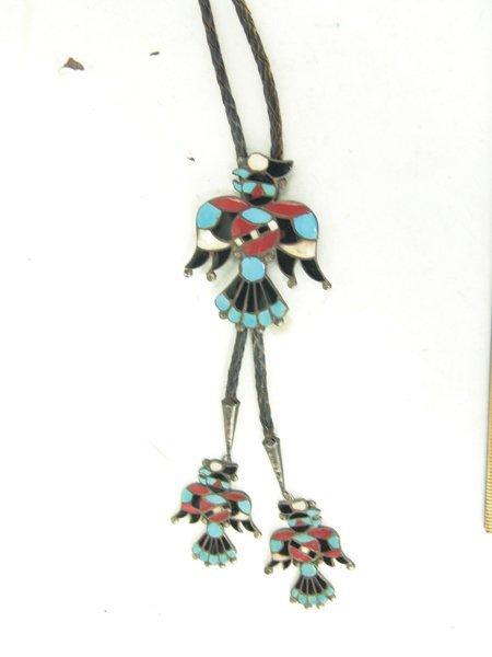 Vintage Zuni Inlay Bolo Tie - 2