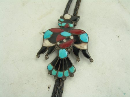 Vintage Zuni Inlay Bolo Tie - 4