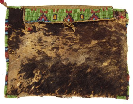 Buffalo Hide Beaded Pouch