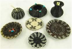 7 Miniature Horsehair Baskets