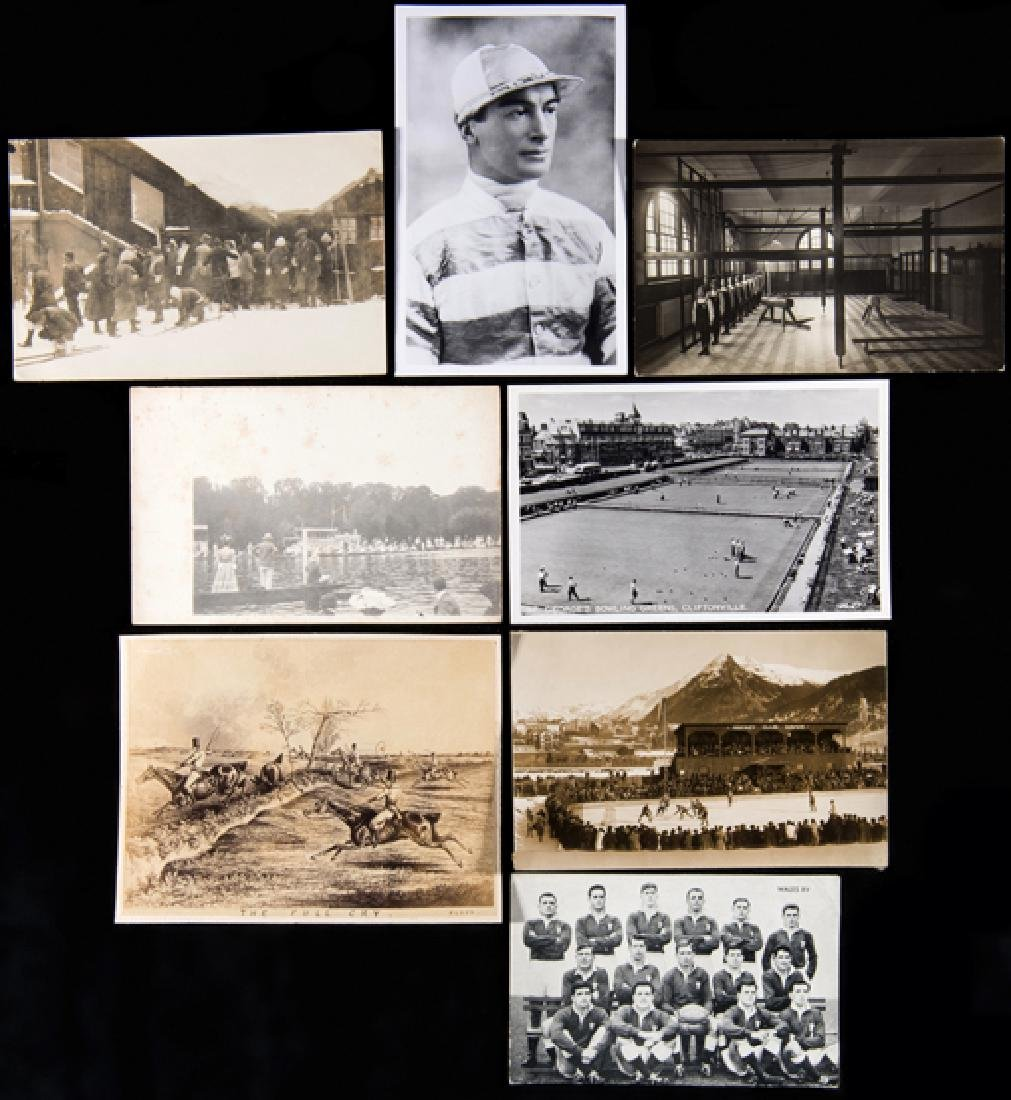 A collection of sporting themed postcards, racing,