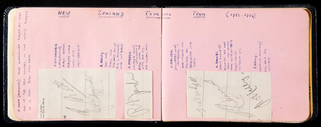 1950s sporting autographs book, with football, cricket