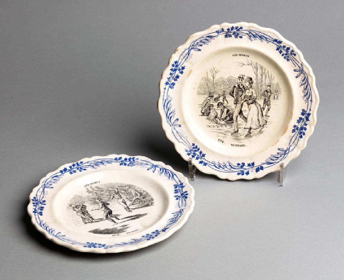Two small French faience plates from a series titled
