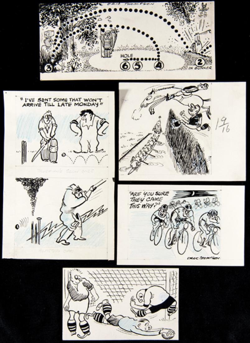 Group of Eric Thompson original sporting caricatures,