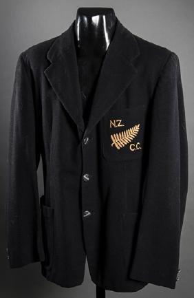 John Reid New Zealand cricket blazer, in black wool,