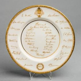 A Royal Worcester bone china plate commemorating the