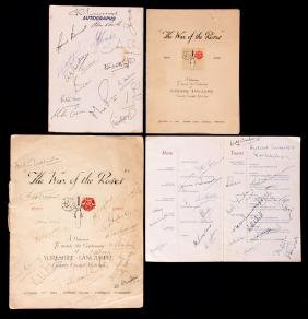 A multi-signed menu for a dinner to mark the centenary