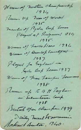 A signed and hand-written career biography by the 1939