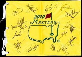 2010 Masters souvenir pin flag signed by 18 previous
