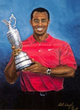 Bill Waugh (contemporary) TIGER WOODS giclee print on